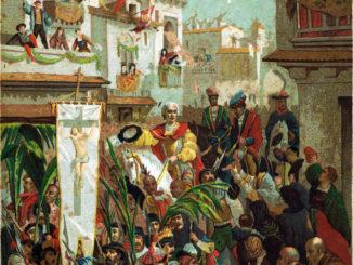 COLOMBO-ARTE-Illustrazione-ricavata-dallopera-Cristoforo-Colombo-del-conte-Roselly-de-Lorgues-edita-dalla-Soc-Gen-Libraria-Cattolica-di-Parigi1891.-326x245