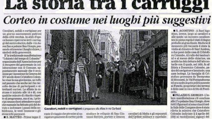 IL SECOLO XIX ottobre 2001