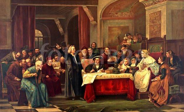 """""""Cristoforo Colombo alla corte reale di Spagna"""". Chromolithografia pubblicata da Mast, Crowell & Kirkpatrick intorno al 1884. Immagine tratta dalla U.S. Library of Congress"""