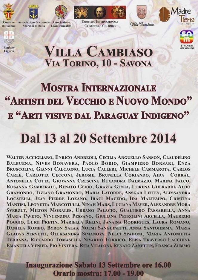 MOSTRA-ARTISTI-DEL-VECCHIO-E-NUOVO-MONDO-SAVONA-2014-DOC-Manifesto-completo-con-nome-pittori