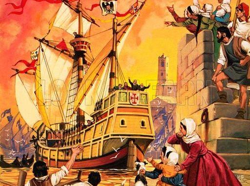 "Angus McBride (Londra 1931-Città del Capo 2007), illustratore storico, ""Columbus setting sail in the Santa Maria in August 1492""."