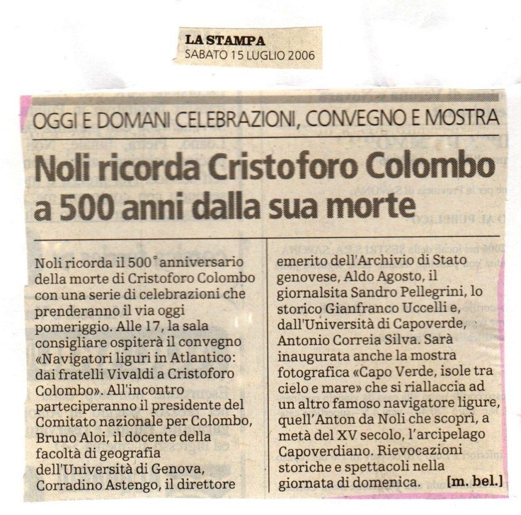 ARTICOLI-LA-STAMPA-Sabato-15-luglio-2006-Noli-ricorda-Cristoforo-Colombo-a-500-anni-dalla-sua-morte-1024x1013