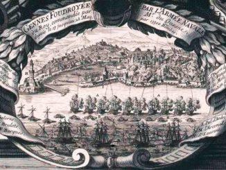 COLOMBO-LANGLOIS-La-flotta-francese-bombarda-Genova-nel-1685-di-Nicolas-Langlois-1640-1703-editore-libraio-incisore-326x245