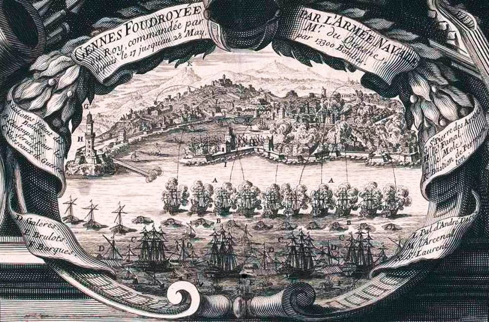 Bomba-1684-grande-e-pulita  AB-Bombardamento-DOCGenova-1684-bomba-esplosiva-a-S.M.-di-castello  COLOMBO-LANGLOIS-La-flotta-francese-bombarda-Genova-nel-1685-di-Nicolas-Langlois-1640-1703-editore-libraio-incisore