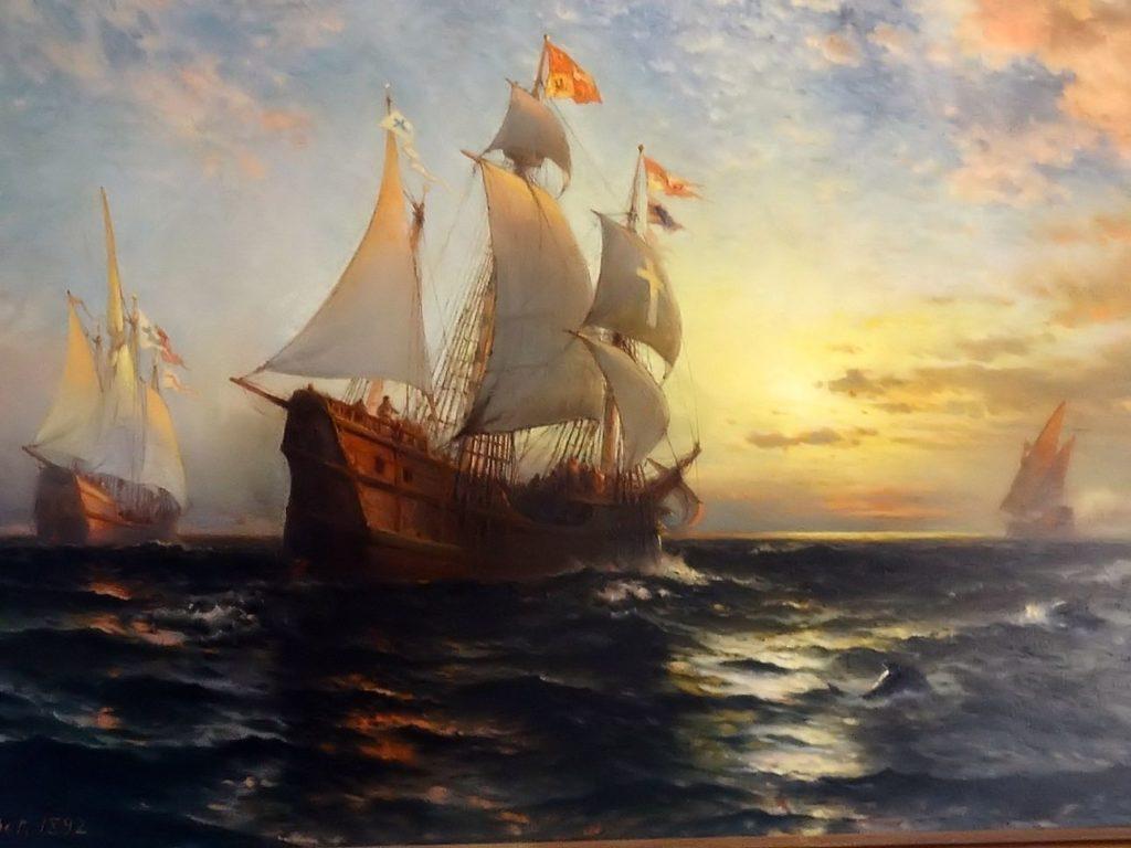 pittore-americano-Edward-Moran-full-size-Bolton-Gran-Bretagna-1829-–-New-York-1901.-the-Santa-Maria-Nina-and-Pinta-Evening-of-October-11-1492.-1024x768