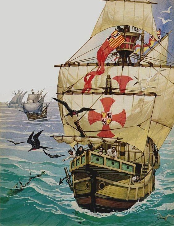 Angus-McBride-Foto-al-lavoro  Angus-Angus-McBride-El-primer-viaje-de-Critóbal-Colón-1492