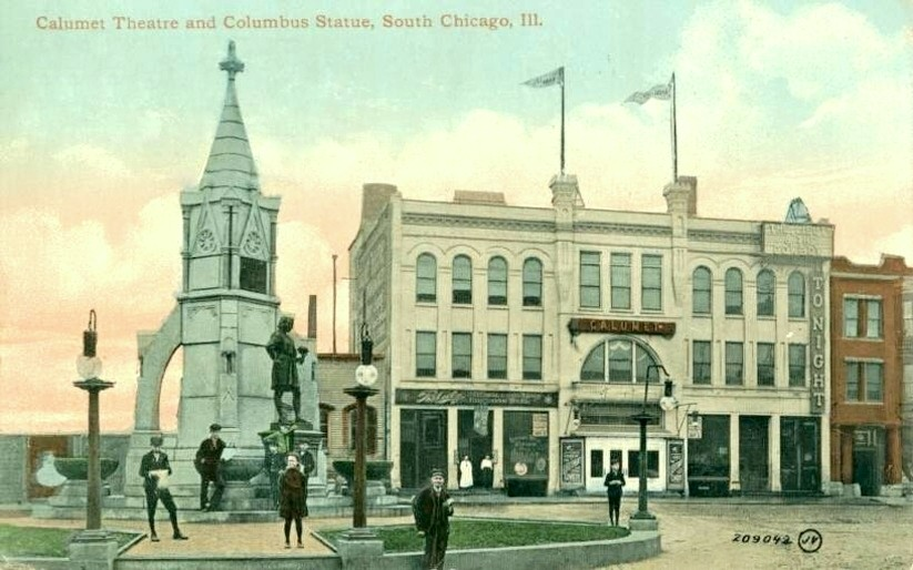 Chicago-fontana-Cristoforo-Colombo  Chicago-John-Burroughs-Drake-LibanoOhio-1826-Chicaho-1895  Chicago-doc-C.Colombo-fountain  Chicago-DOC-statua-con-targa  Chicago-scritta  Chicgago-fontana-statua-mappamondo  Chicago-DOC-DOC-mega  Chicago-DOC-calumet-theatre-south-chicago