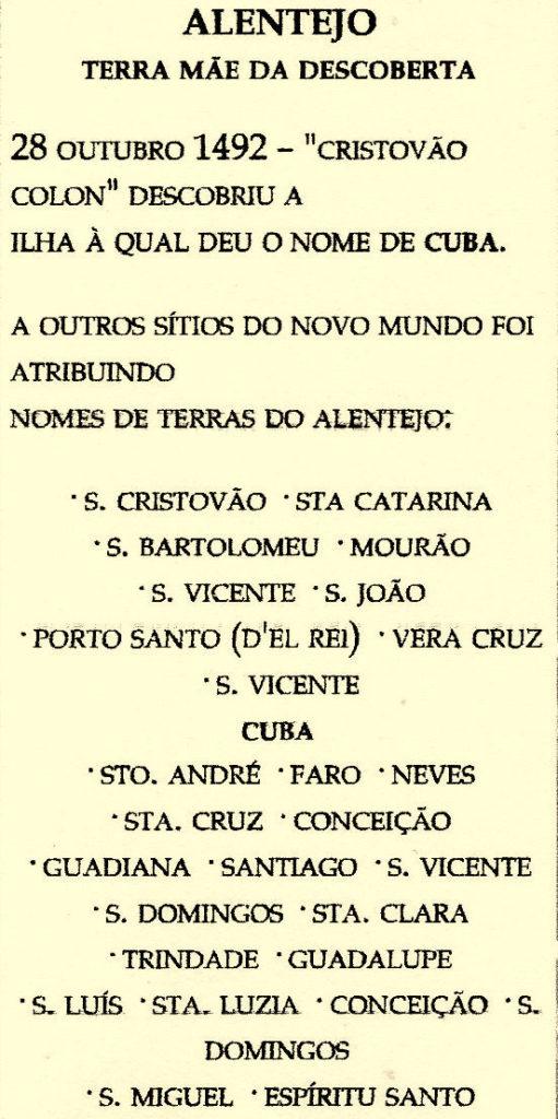Alentejo-Cuba-statua  Alentejo-mezzo-busto-1024x683  Alentejo-Cuba-Doc-targa-Cristovao-Colon-Cuba-scultore-Alberto-Trindade  Alentejo-Verdade-historica-605x1024  Alentejo-Cuba-doc  Alentejo-lista-511x1024