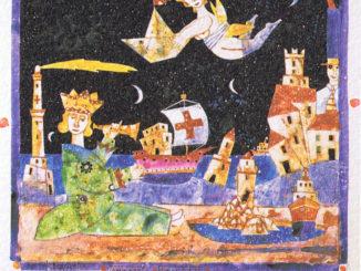 Francesco-Musante-Il-giovane-Cristoforo-gioca-con-le-Caravelle-nel-laghetto-dei-giardini-dellAcquasola-e-intanto-sogna-lAmerica-1984-326x245