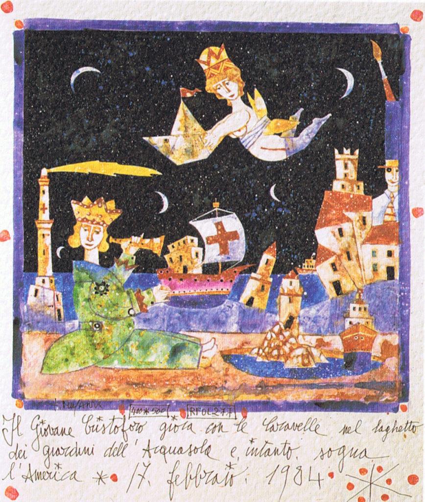 Francesco-Musante-Il-giovane-Cristoforo-gioca-con-le-Caravelle-nel-laghetto-dei-giardini-dellAcquasola-e-intanto-sogna-lAmerica-1984-868x1024